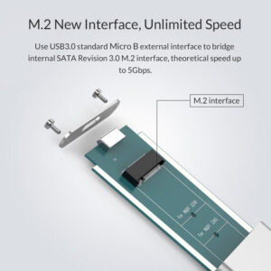 Θήκη για Μ.2 B key SSD ORICO, USB 3.0, 5Gbps, 2TB, Ασημί_1