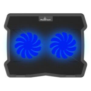 Laptop POWERTECH έως 15.6 2x 125mm fan LED Μαύρο_1