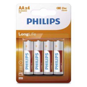 PHILIPS LongLife Zinq Chloride AA R6 Mignon 4τμχ