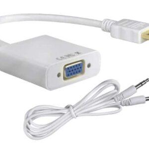 POWERTECH HDMI σε VGA με Audio Jack Λευκό 0.20m